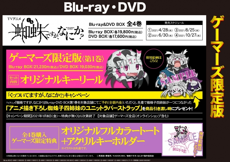 【DVD】TV 蜘蛛ですが、なにか? DVD BOX 1 ゲーマーズ限定版【オリジナルキーリール付】